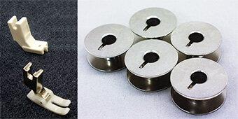 コンシールファスナー押さえ、テフロン押さえ、工業用ボビン5個