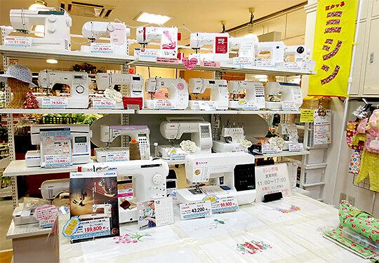 江戸っ子浜松店のミシン売り場の風景